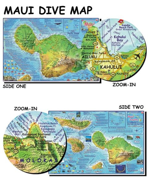 on detailed map of maui