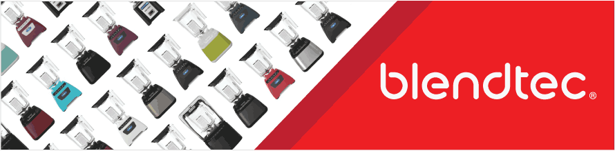 Banner for Shop Blendtec with pictures of Professional, Designer and Classic Series Blender Product Lines in different colours for home use.
