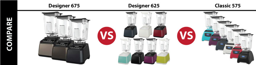 Banner linking to a Blendtec Comparison Chart. Images of Blendtec Designer 675 vs 625 vs Classic 575 Models. All with WildSide Jars.