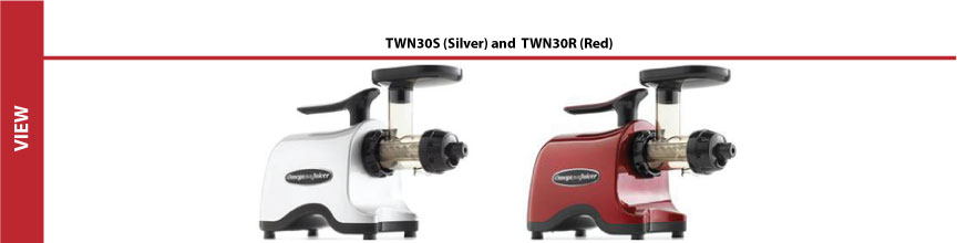 Compare Omega Twin Gear Juicers TWN30S (silver) and TWN30R (red)