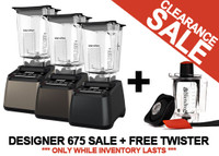 Blendtec Designer 675 Blenders with WildSide+ Jars on Clearance SALE in Canada. PLUS get a FREE Twister Jar ($169.95 Value SAVINGS)!  **Only While Inventory Lasts**
