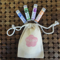 Mama Bath + Body Lip Balm Pack - peppermint, spearmint, lavender + tangerine