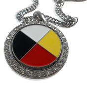 Medicine Wheel Spinner Pendant with Link Chain