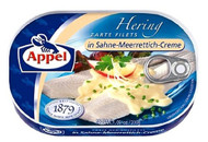 Appel herring fillets with horseradish cream tin 200g - 7.05 oz Sahne-Meerrettich-Creme