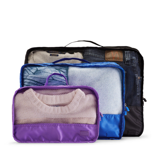 luggage organiser (small) purple, (medium) blue & (large) black