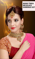 Indian Chocker Necklace Sets With Earrings Mang tikka 3357