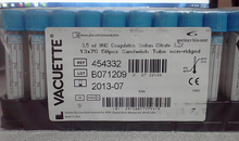 454332 VACUETTE Blue Plastic Coagulation Tubes With 3.2% Sodium Citrate,  Collection Tubes Case of 1200