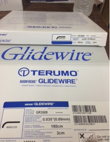 """GR3508 Terumo Glidewire ® Hydrophilic Coated Guidewire for Peripheral Application Standard, angle tip, .035"""" diameter, 180 cm long, 3 cm flexible tip length. Box of 5"""