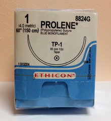 """Ethicon 8824G PROLENE Suture, Taper Point, Non-Absorbable, TP-1 65mm ½ Circle, Blue Monofilament 60"""" ˜ 150cm, Size: 1"""