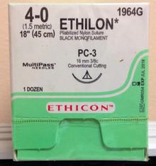 "Ethicon 1964G ETHILON Suture, Precision Cosmetic - Conventional Cutting PRIME, Non-Absorbable, PC-3 16mm 3/8 Circle, Black Monofilament 18"" ˜ 45cm, Size: 4-0"