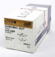 525B Suture Chromic Gut 3-0 Absorbable, Box of 12