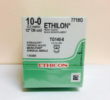 "Ethicon 7718G ETHILON Suture, MICROPOINT - Spatula, Non-Absorbable, TG140-8 6.5mm / TG140-8 3/8 Circle, Black Monofilament 12"" ˜ 30cm, Size: 10-0, Qty: 12/box"