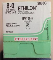 "Ethicon 2808G ETHILON Suture, Non-Absorbable, Taper Point, BV130-5 6.5mm 3/8 Circle, Black Monofilament, 5"" ˜ 13cm, Size: 8-0,  Box of 12. Price per box"
