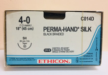 """Ethicon C014D PERMA-HAND Suture, Taper Point, Non-Absorbable, SH 26mm ½ Circle, Black Braided 8-18"""" ˜ 45cm, Size: 4-0, Qty: 12/box"""