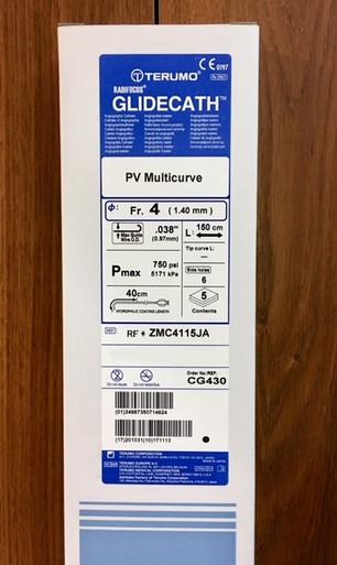 "CG430 4Fr Glidecath  150 cm long, PV Multicurve (MLTCRV) tip shape, 0.038"" guidewire compatible"