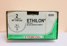 "Ethicon 825G ETHILON Suture, Taper Point, Non-Absorbable, TP-1 65mm ½ Circle, Black Mnofilament 60"" ˜ 150cm, Size: 2, Qty: 12/box"