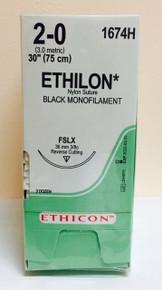 """Ethicon 1674H ETHILON Suture, Reverse Cutting, Non-Absorbable, FSLX 40mm 3/8 Circle, Black Monofilament 30"""" ˜ 75cm, Size: 2-0, Qty: 36/box"""