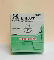 "Ethicon 1666G ETHILON Suture, Precision Point - Reverse Cutting, Non-Absorbable, PS-2 19mm 3/8 Circle, Black Monofilament 18"" ˜ 45cm, Size: 5-0, Qty: 12/box"