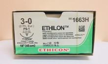 "Ethicon 1663H ETHILON Suture, Non-Absorbable, Precision Point - Reverse Cutting, PS-1 24mm 3/8 Circle, Black Monofilament, 18"" ˜ 45cm, Size: 3-0"