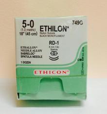 "Ethicon 749G ETHILON Suture, SABRELOC - Center Point Spatula, Non-Absorbable, RD-1 8.0mm / RD-1 ¼ Circle, Black Monofilament 18"" ˜ 45cm, Size: 5-0"