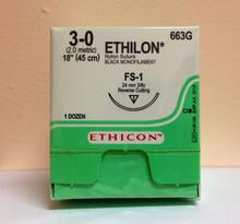 "Ethicon 663G ETHILON Suture, Reverse Cutting, Non-Absorbable, FS-1 24mm 3/8 Circle, Black Monofilament 18"" ˜ 45cm, Size: 3-0"