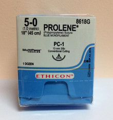 """Ethicon 8618G PROLENE Suture, Precision Cosmetic - Conventional Cutting PRIME, Non-Absorbable, PC-1 13mm 3/8 Circle, Blue Monofilament 18"""" ˜ 45cm, Size: 5-0"""