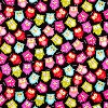 Bright Owls on Black- Fabric for special needs bibs