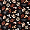 Cowboy Hats on Black- Fabric for special needs bibs