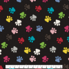 Paw Prints on Black- Fabric for special needs bibs