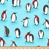 Penguin Scarves on Blue- Fabric for special needs bibs