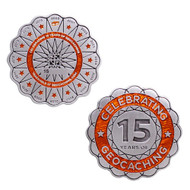 15 Years of Geocaching Official Geocoin