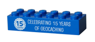 15 Years of Geocaching Trackable LEGOÌÎå«Ì´å Brick- Blue
