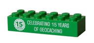 15 Years of Geocaching Trackable LEGOÌÎå«Ì´å Brick- Green