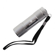 LED Geocaching Logo Aluminum Flashlight- Silver