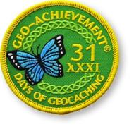 31 Days of Geocaching Geo-Achievement™ Patch