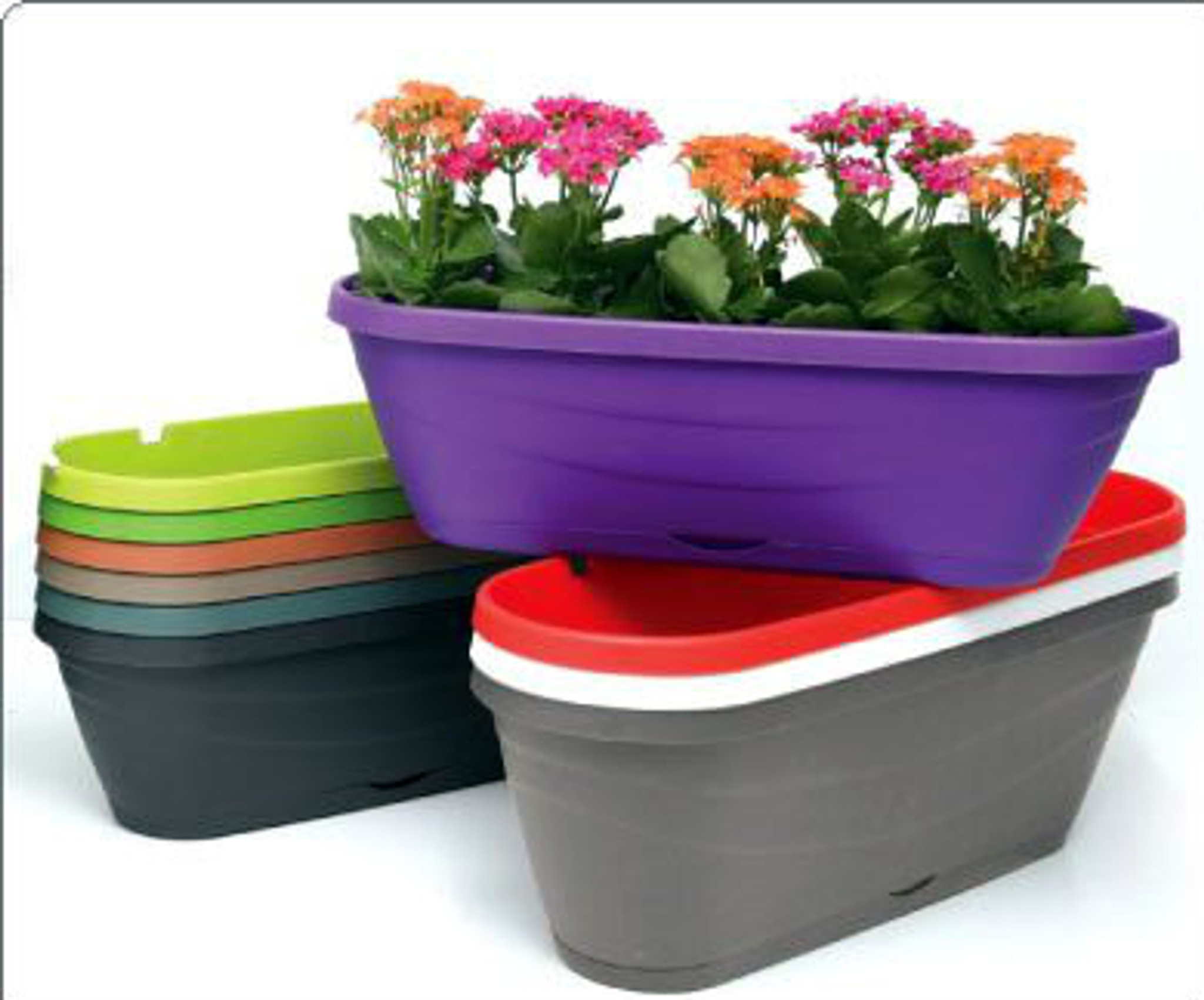 hanging planters flower box to garden fence  or balcony rail ., Range of colours white,  purple, red , green, brown