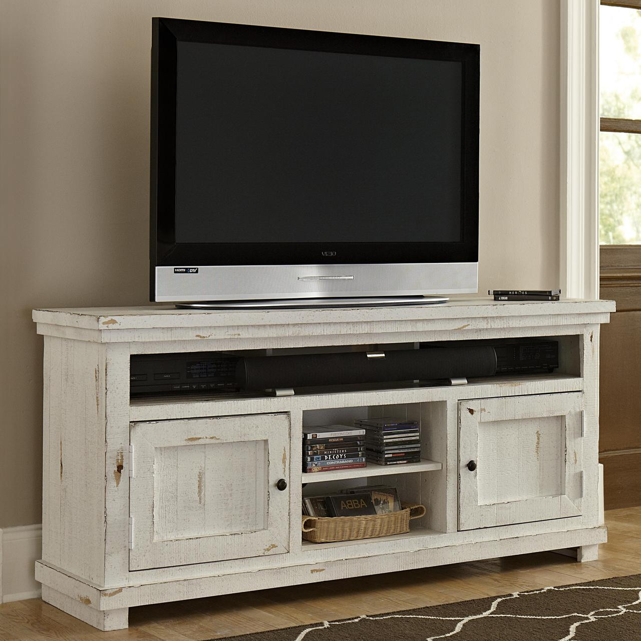 """Willow 64"""" TV Stand: Distressed White"""