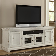 "Willow 74"" TV Stand: Distressed White"
