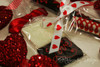 """Red Hearts in a Row Ribbon on 5/8"""" white single face satin ribbon, 10 Yards"""
