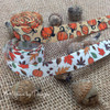 """Fall Ribbon Leaves and Pumpkins on 5/8"""" Antique white Single Face Satin Ribbon, 10 Yards"""