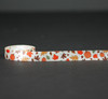 """Fall leaves and pumpkins on 5/8"""" Antique white single face satin ribbon, 10 yards"""