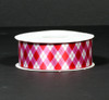 "Valentine argyle in red and pink on 1.5"" white single face satin ribbon, 10 Yards"