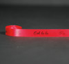 """Ooh La La in black ink with hearts on 5/8"""" bright  red single face satin ribbon, 10 yards"""