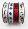 """Paw prints and Snowflakes ribbon printed in blue on 5/8"""" white single face satin, 10 Yards"""
