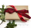 """Buffalo Plaid ribbon in black and red on 7/8"""" red single face satin, 10 Yards"""