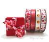 """Hearts and Arrows ribbon in pink and gray on 5/8"""" white single face satin, 10 Yards"""