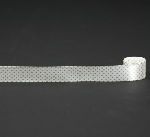 """Pin dots in champagne on 7/8"""" antique white Single face satin ribbon"""