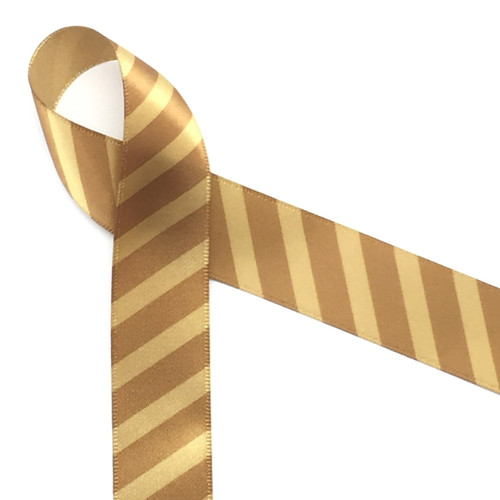 "Caramel Stripes on  7/8""gold single face satin  ribbon, 10 Yards"
