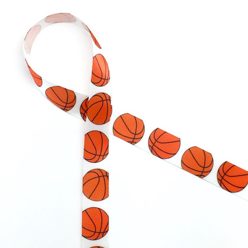 """Basketballs bouncing along on a  5/8"""" white single face satin makes an ideal tie for your basketball or sports themed party!"""