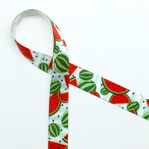 """Watermelons with seeds and rinds on 5/8"""" white single face satin ribbon, 10 Yards"""